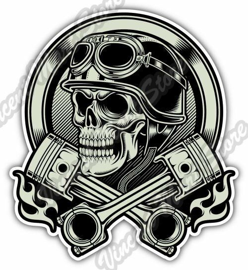 Vintage biker skull helmet chopper gift car bumper vinyl sticker decal