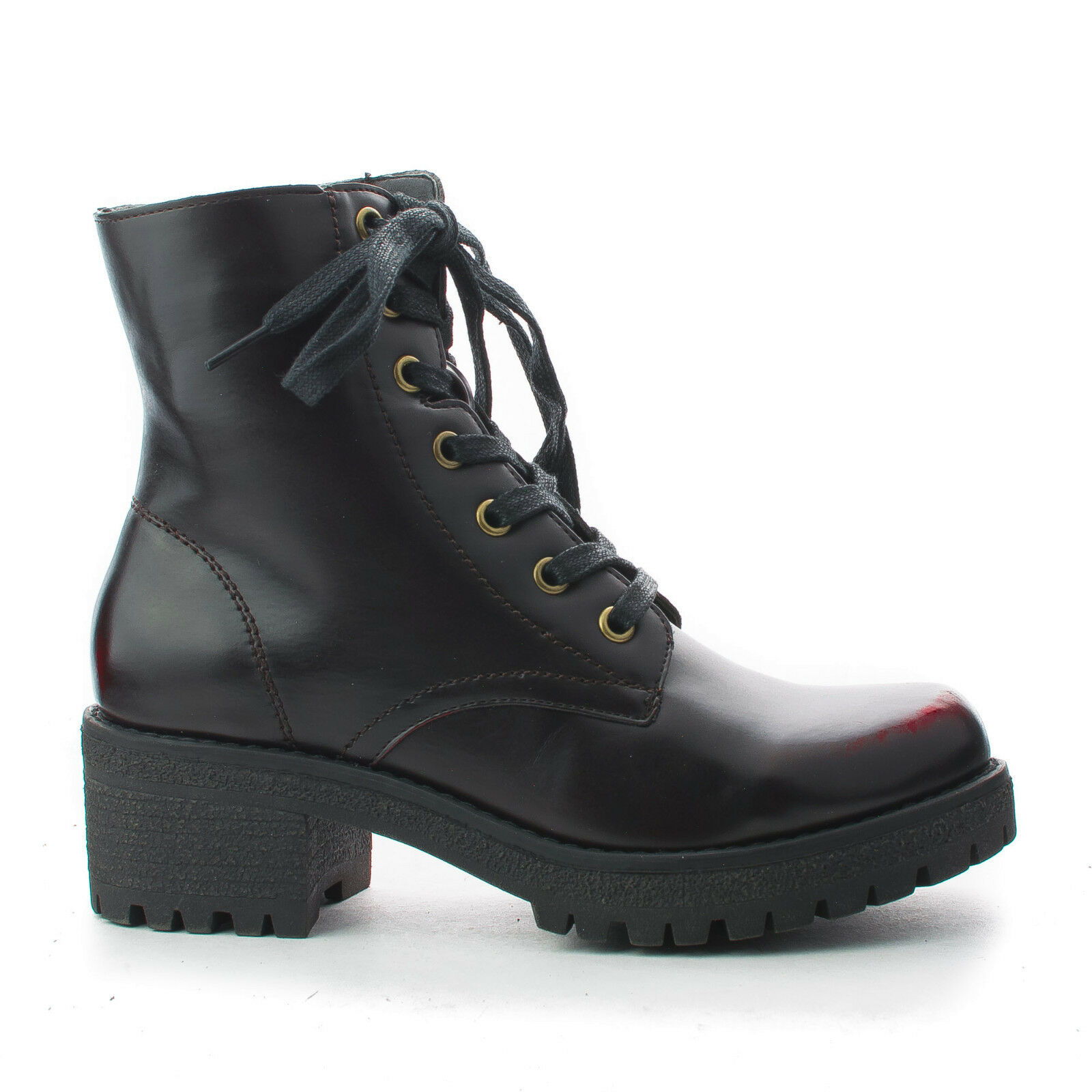 Round Toe Women's Lace Up Lug Sole Ankle Boots