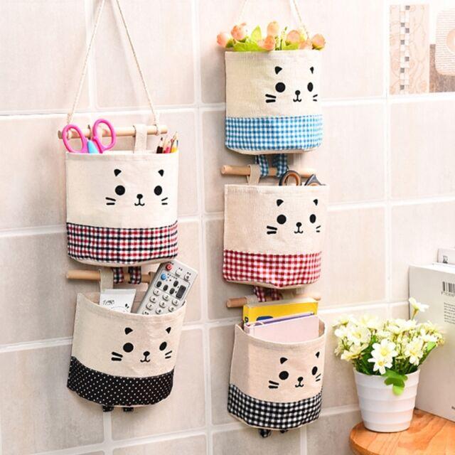 Amazing Wall Door Hanging Organizer Container Cotton Cute Cat Closet Storage Bag  Pocket