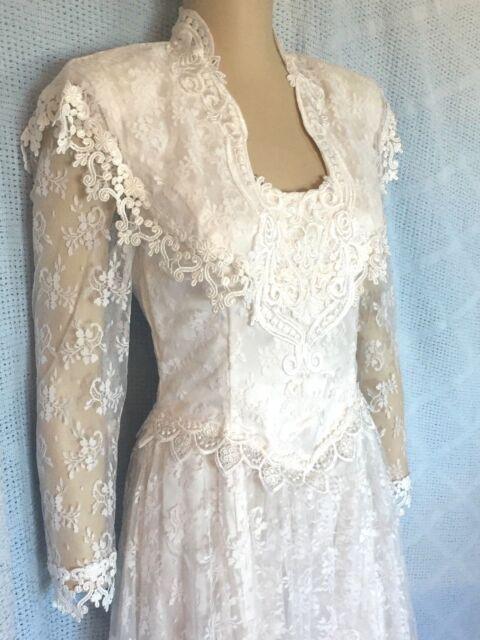 White Lace Handkerchief Hem Wedding Dress Size 6   eBay