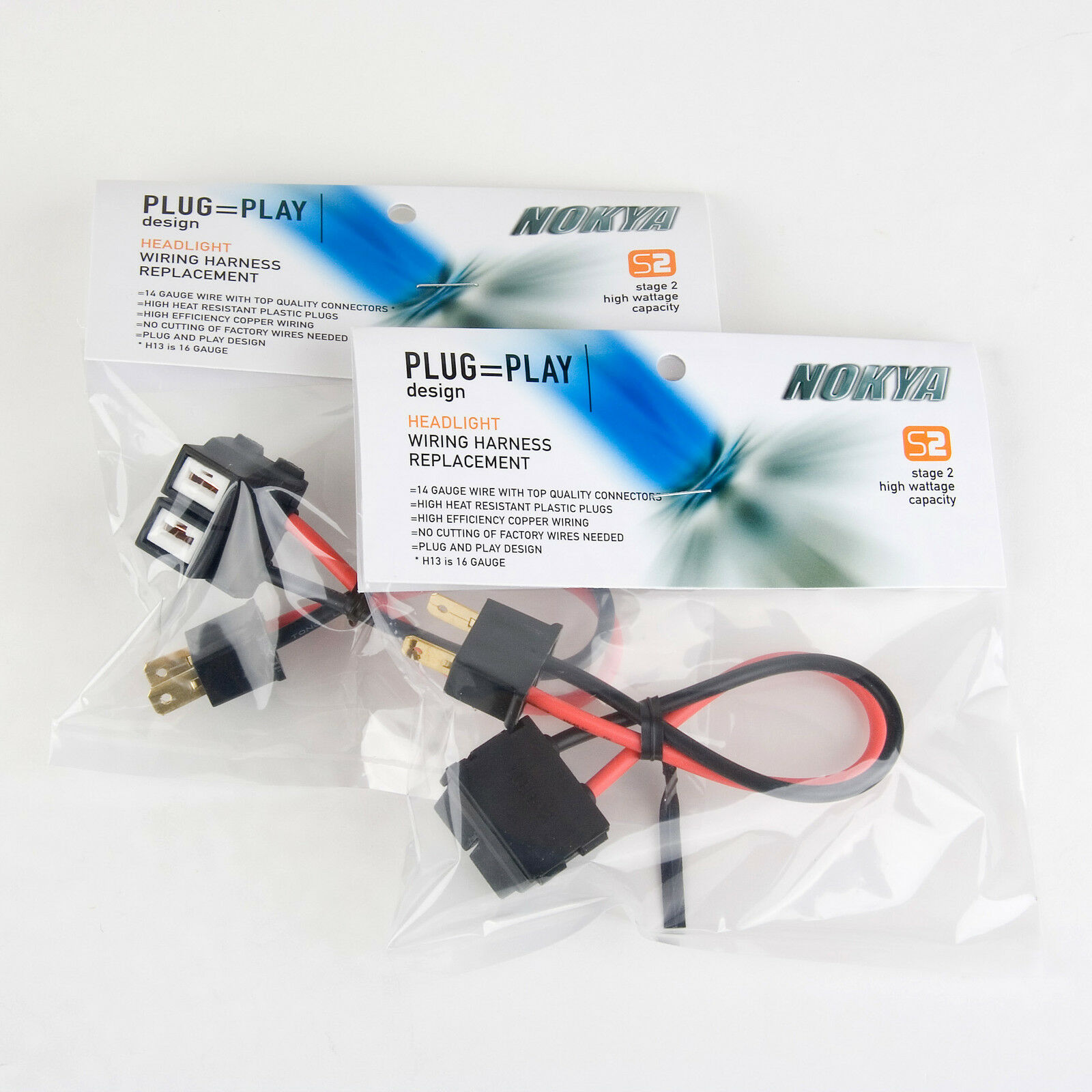 Heavy Duty Headlight Wiring Harness Solutions H13 Nokya H7 Qty 2 Nok9116
