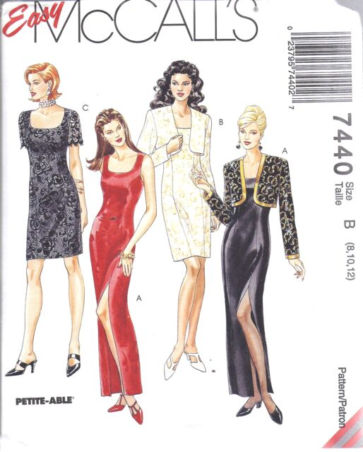 Fab Sleek Evening Gown Bolero & Dress Misses Sewing Pattern 7440 6 8 ...
