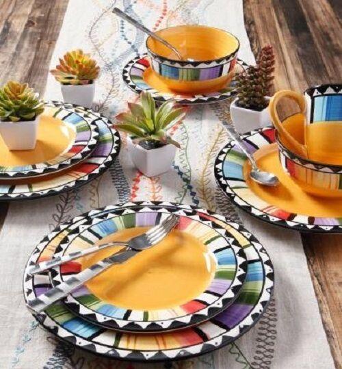 Picture 1 of 4 ...  sc 1 st  eBay & 16 Piece Dinnerware Set Dishware Stoneware Plates Dishes Fiesta ...