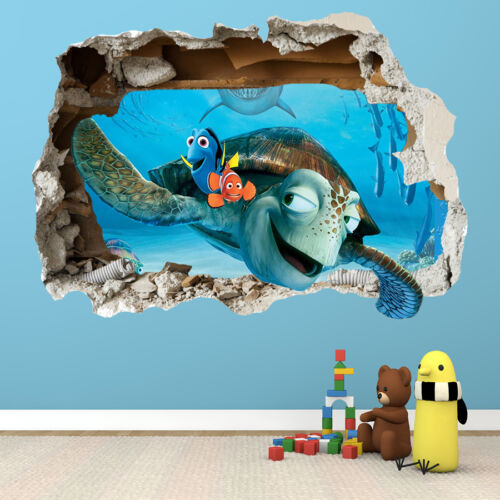 Nice FINDING NEMO WALL STICKER   3D SMASHED BEDROOM BOYS GIRLS WALL ART DECAL Pictures Gallery
