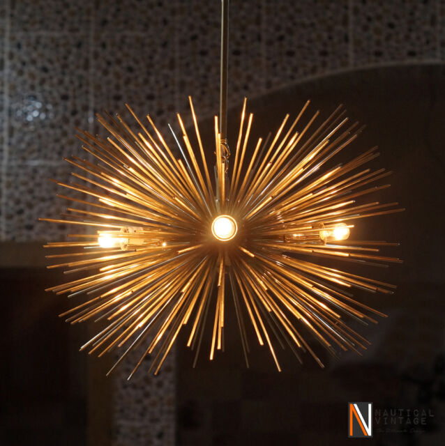 Mid Century 5 Bulbs Gold Brass Sphere Urchin Chandelier Light