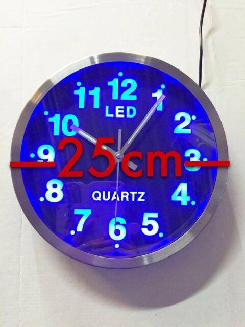 Blaue LED Wanduhr Designuhr Quarzuhr Analog rund Wanduhr  Runduhr 25cm