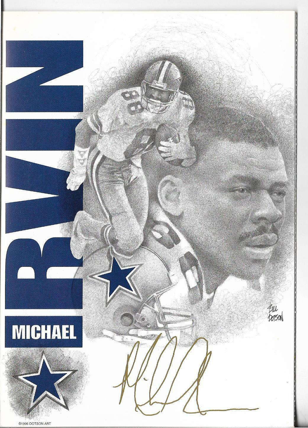 1996 dotson greeting card michael irvin 88 hof receiver dallas picture 1 of 3 kristyandbryce Choice Image