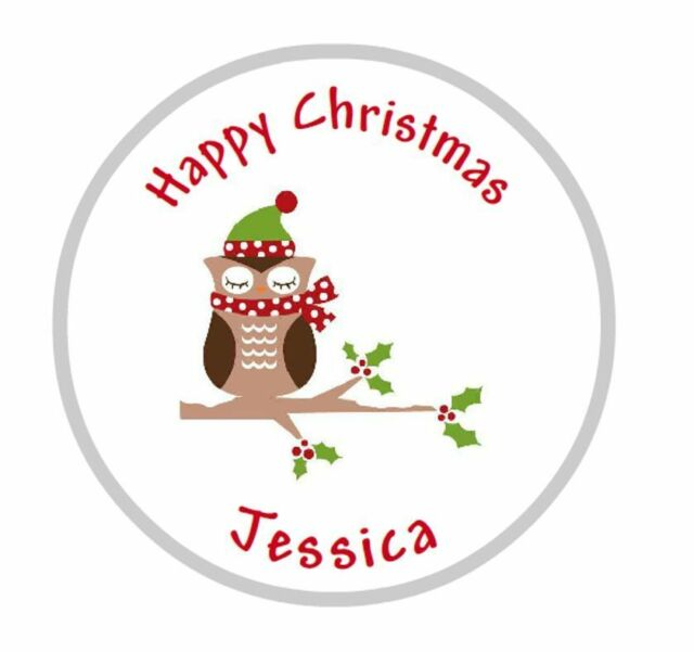 24 x 40mm personalised round christmas cute owl labels stickers