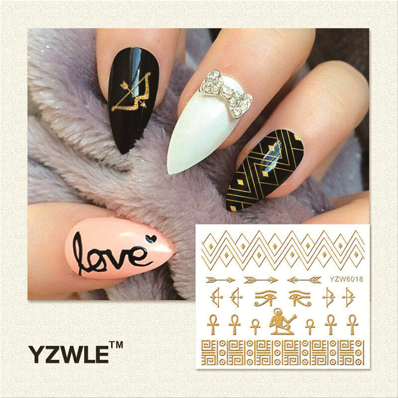 Picture 1 of 1 - 3d Nail Art Stickers Decals Metallic Gold Lace Tribal Egyptian GEL