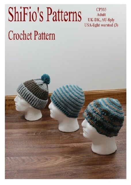 Crochet Pattern For Mens Hats Beanie Striped Ribbed 333 Not Clothes