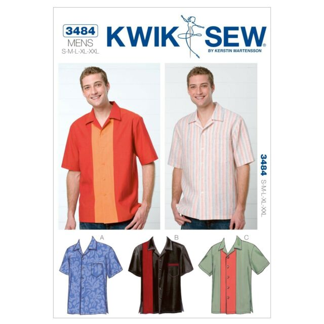 Kwik Sew K3484 Mens Bowling Shirts Sewing Pattern Size SMLXLXXL 3484 ...