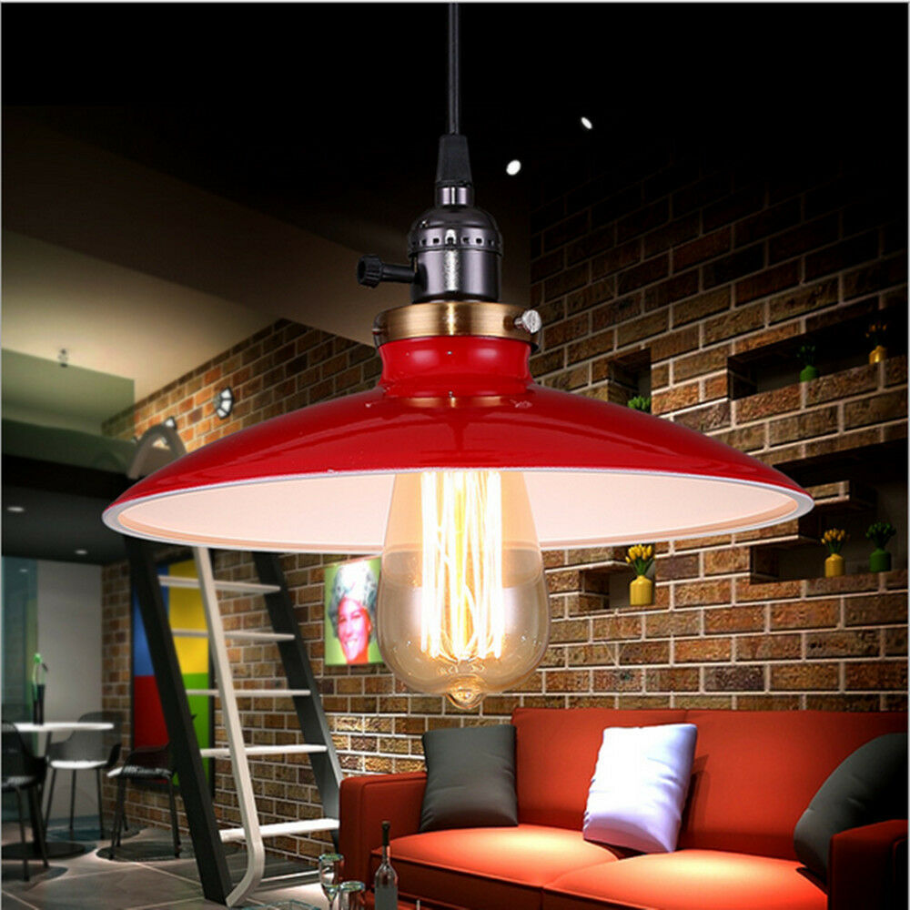 Pcs Red Pendant Light Bedroom Vintage Ceiling Lamp Kitchen Bar - Kitchen light fixtures ebay