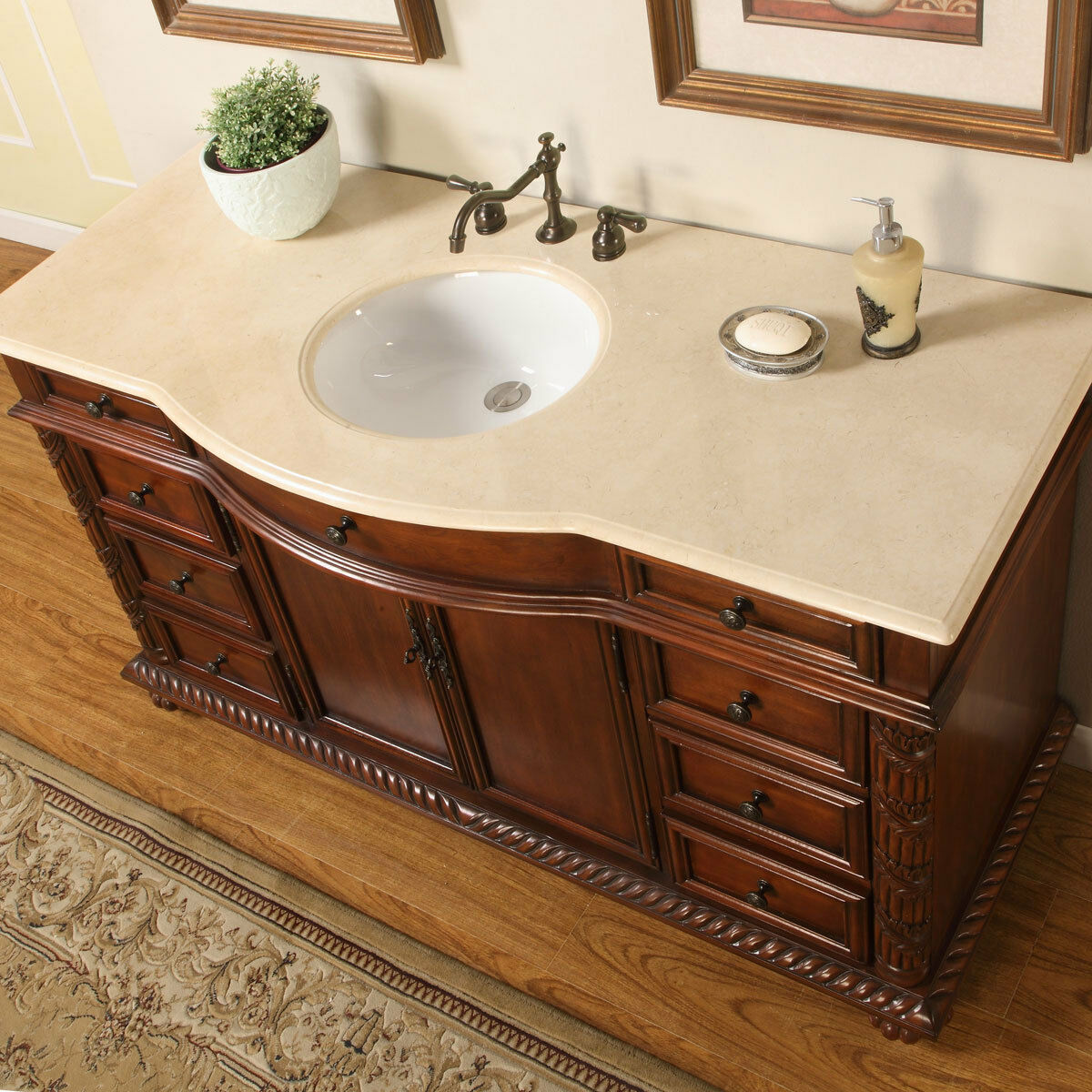 Silkroad exclusive 58 inch marble stone top bathroom vanity lavatory - Picture 1 Of 6