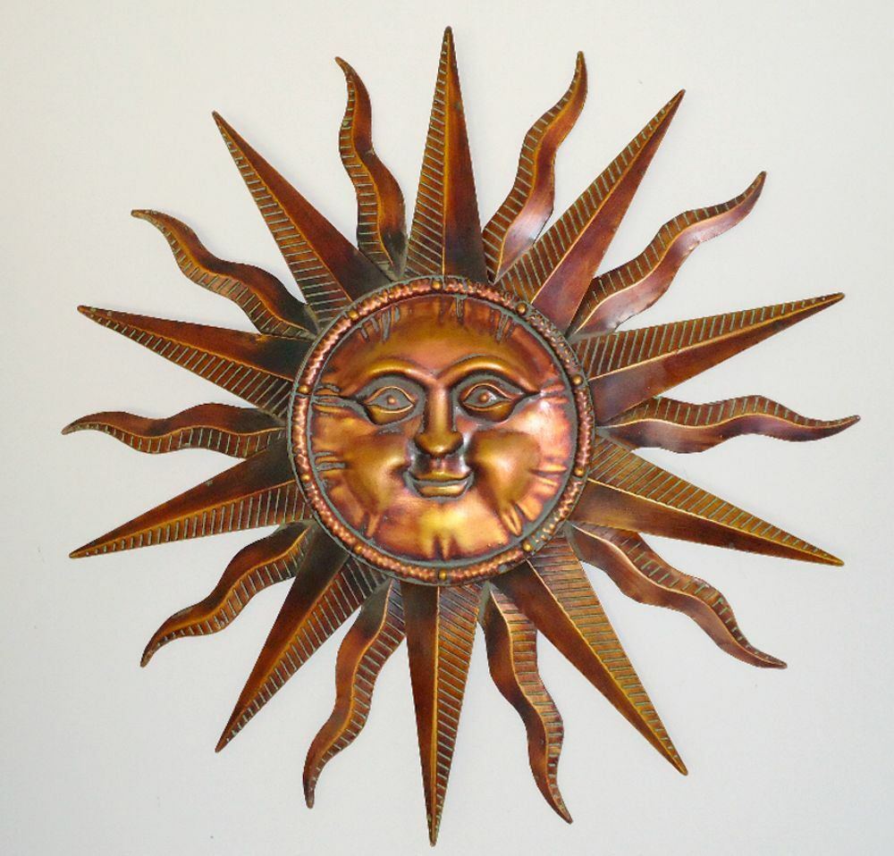 decor outdoor sun plaque wall metal art garden outstanding in face