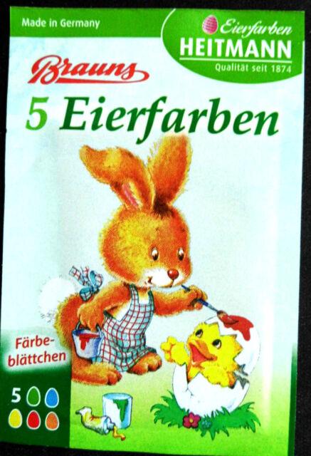 Eierfarben 5 Färbe-blättchen pro Tüte Ostereier Farben Brauns Heitmann