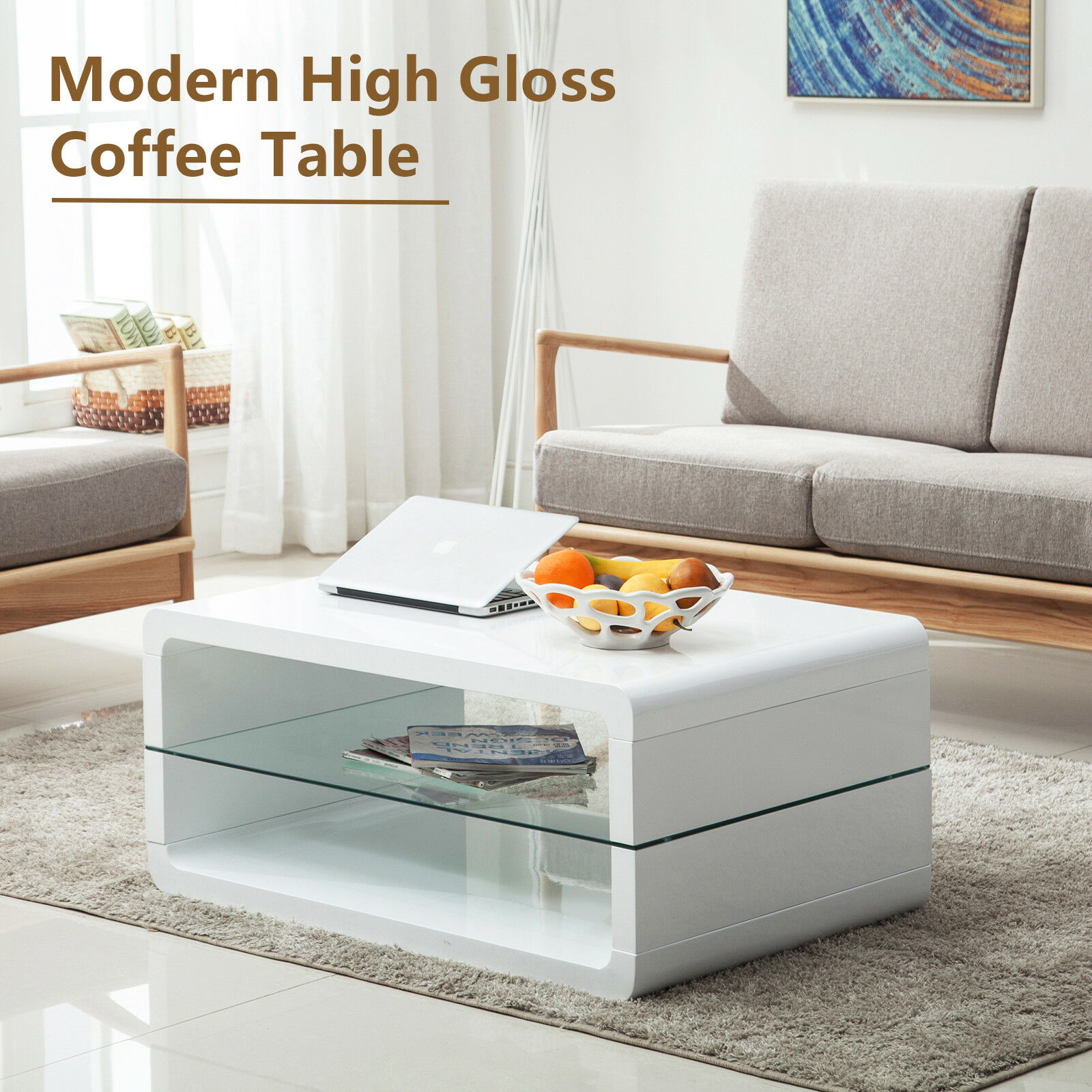 Modern High Gloss White Coffee Table Storage Space W 2 Shelves