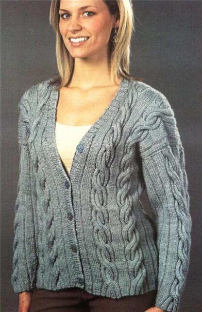 Plymouth Knitting Pattern 1207 Royal Silk Merino Cabled Cardigan