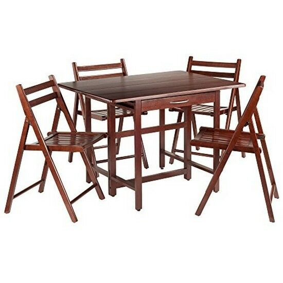 Picture 1 of 1  sc 1 st  eBay & Winsome Wood 94557 Taylor 5-pc Set Drop Leaf Table W/4 Folding ...