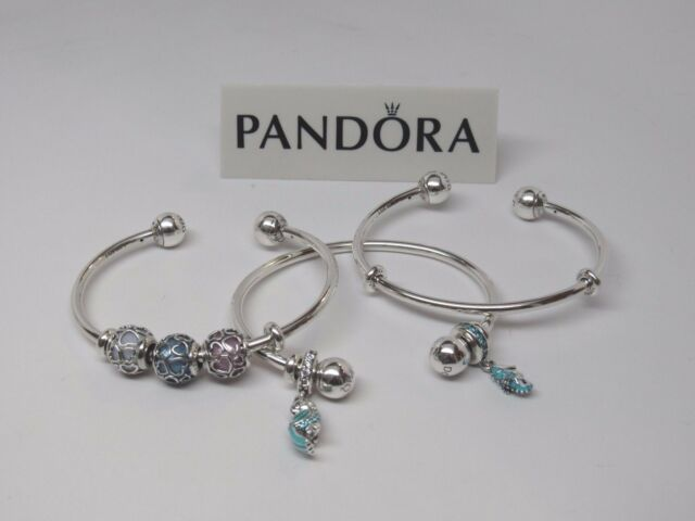 New Pandora Adjule Silver Open Bangle Bracelet W Silicone Grips 596477