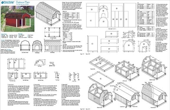 """36"""" x 60"""" porch barn roof style dog house plans 90305b pet size up"""