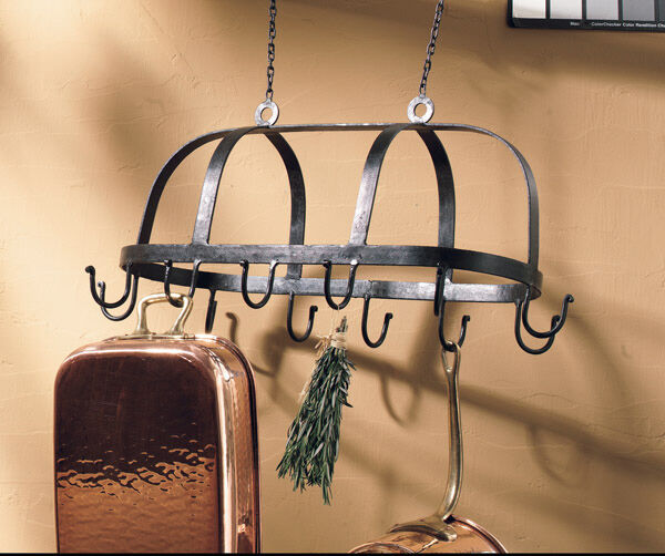 Hanging Pot And Pan Rack Scroll Design Natural Forged Iron 25 Inches Wide Rustic