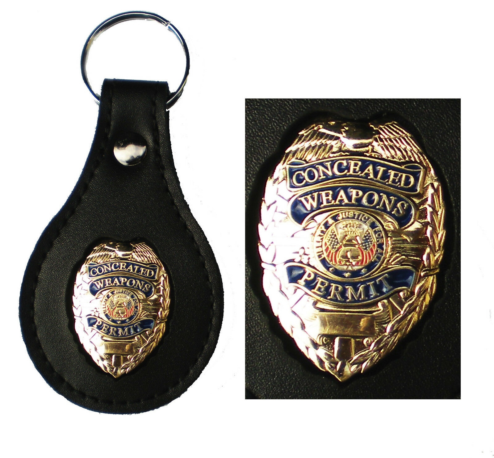 gold concealed weapons permit metal badge leather key fob smart