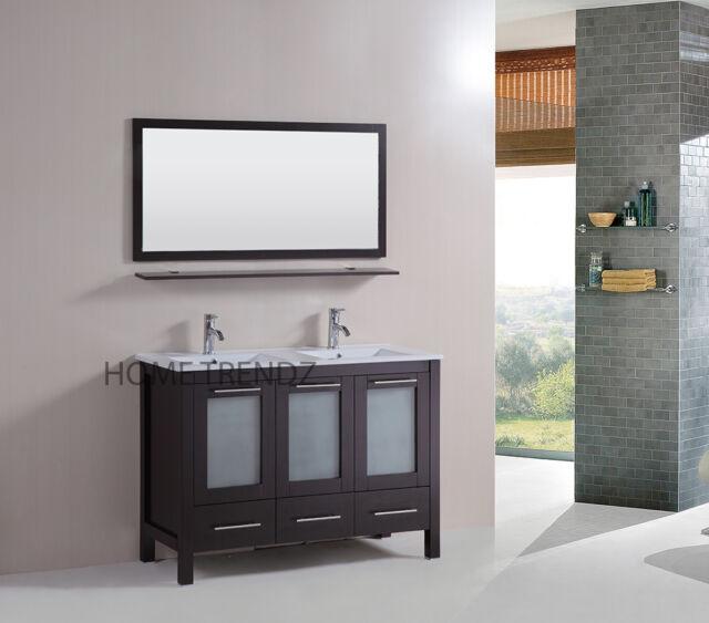 48 Double Vanity Bathroom Ceramic Sink Cabinet Combo Set W Mirrors