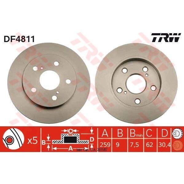 Bremsscheibe, 1 Stück TRW DF4811