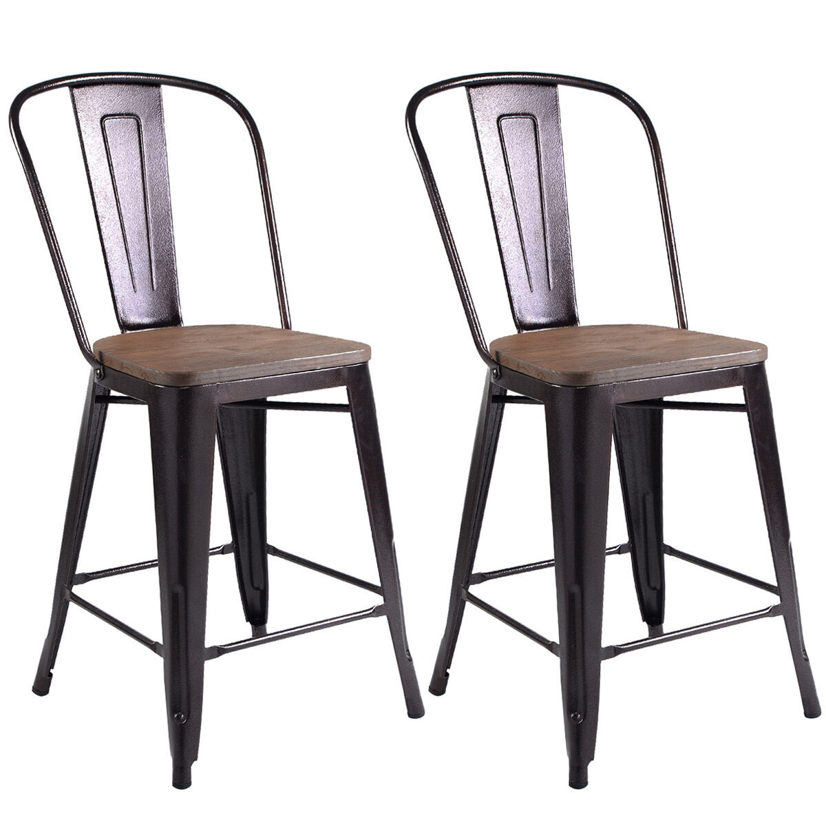 Picture 1 of 10 ...  sc 1 st  eBay & Costway Copper Set of 2 Metal Wood Counter Stool Kitchen Dining ... islam-shia.org
