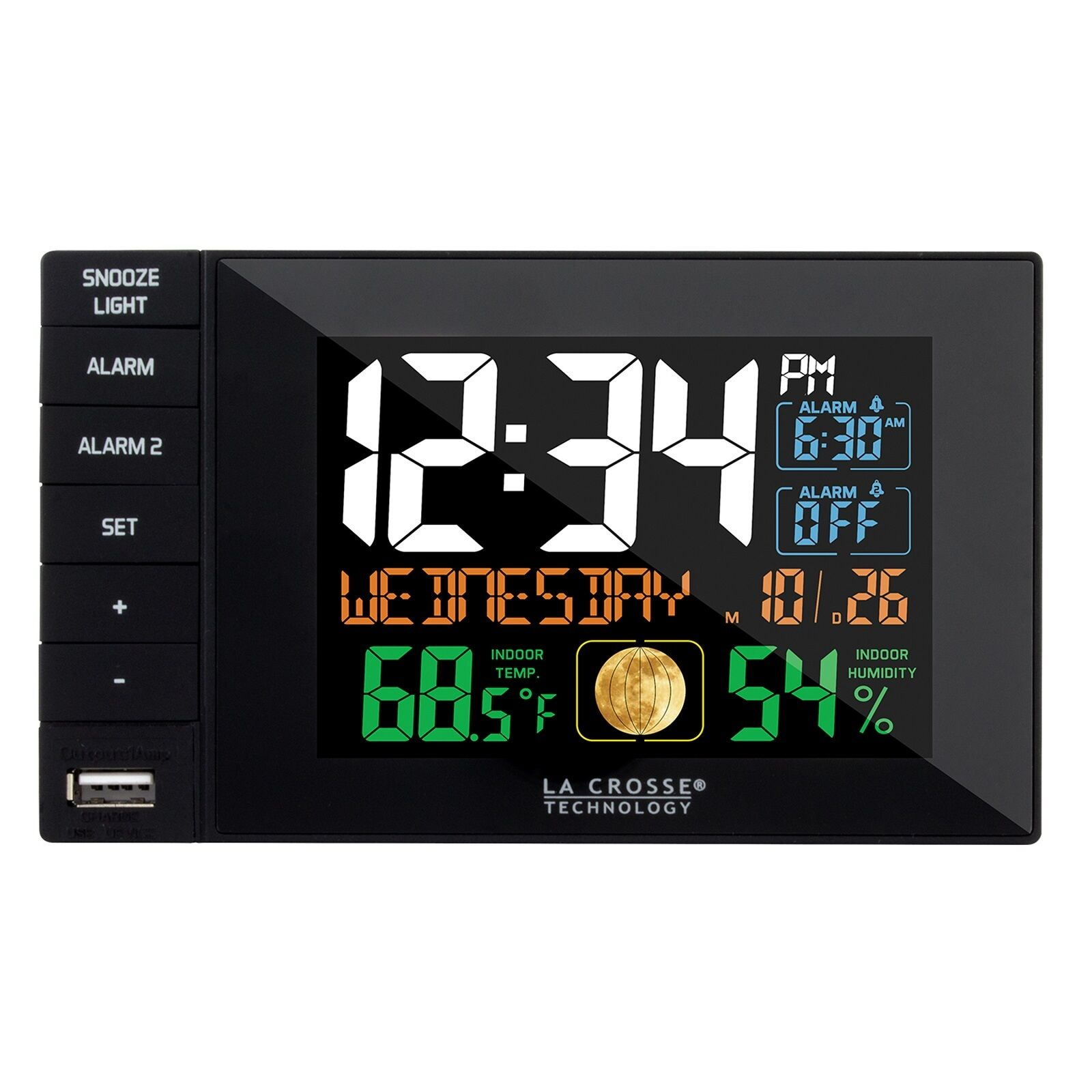 Digital alarm clocks with temperature display ebay la crosse technology dual alarm clock with usb charging port black c87207 amipublicfo Images