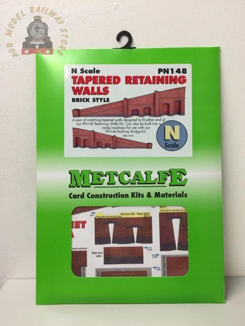 Metcalfe PN148 N Scale Tapered Retaining Wall in Red Brick - N Gauge