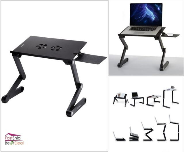 Laptop Holder Stand Book Desk Table Adjustable Mouse Pad Cooling Fan  Computer