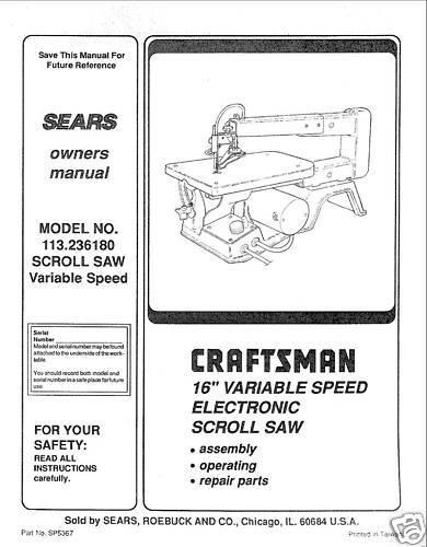 craftsman 16 scroll saw manual model 113 236180 ebay rh ebay com craftsman 16 inch variable speed scroll saw manual sears craftsman 16 scroll saw manual