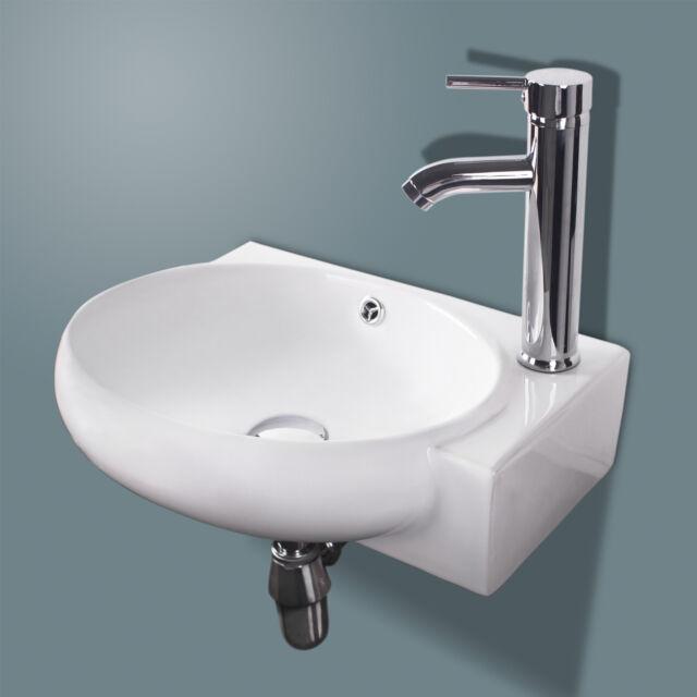 Bathroom Porcelain Wall Mount Ceramic Corner Sink W Chrome Faucet Pop Up Drain