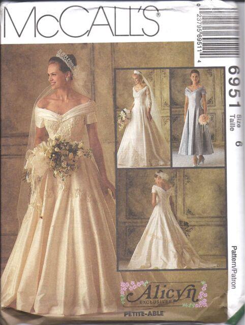 6951 Uncut Vintage McCalls Sewing Pattern Wedding Dress Bridal Gown ...