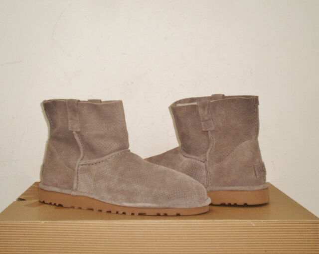 UGG Women's CLASSIC UNLINED MINI PERF Boot 10US MOLE Suede NWB $120 MSRP