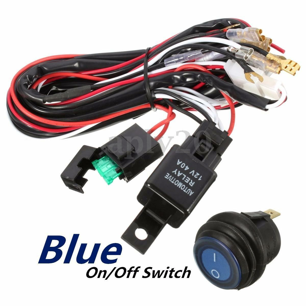 40a 12v Led Light Bar Wiring Harness Relay Blue Switch Fit Jeep Off Atv Connector Picture 1 Of 7