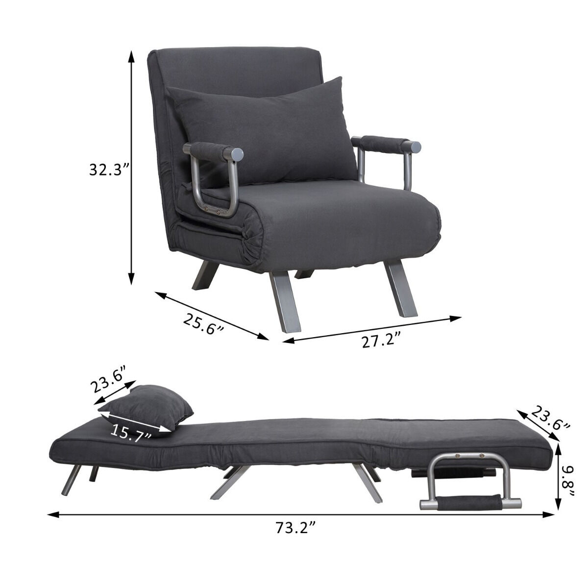 Wonderful Folding Sleeper Flip Chair Convertible Sofa Bed Lounge Couch Pillow 5  Position