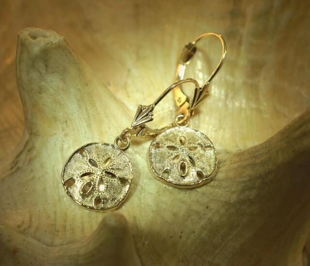 14k Yellow Gold Sand Dollar Leverback Earrings