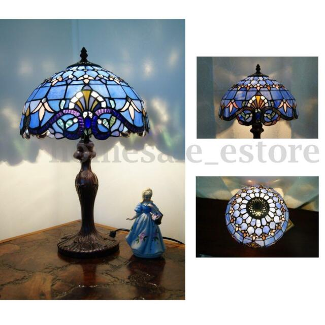 Great Classical Baroque Style Stained Glass Table Lamp Floral Bedside Light Room  Decor