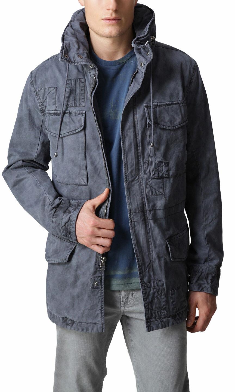 EDUN Slim Fit Hooded Military Coat Jacket in Smog Sz.medium/large ...