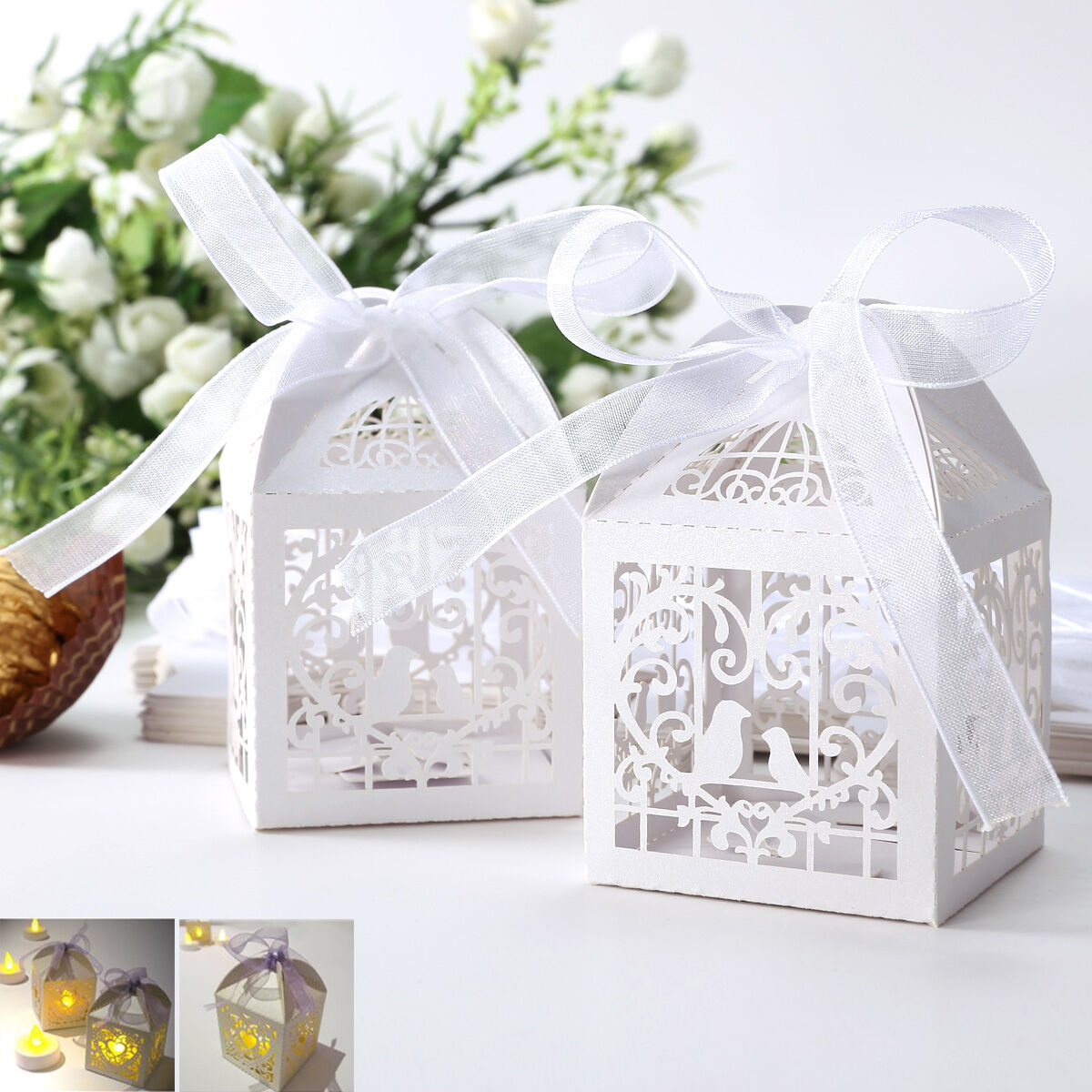 Laser Cut Floral Bird Cage Party Wedding Favor Gift Boxes W Ribbon ...