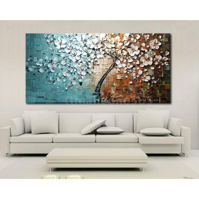 Hand painted oil painting set flower tree canvas print bedroom art picture b6t1