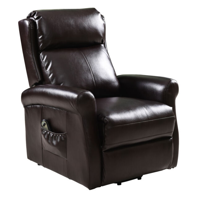 Giantex Brown Recliner Power Lift Chair Living Room Furniture With ...