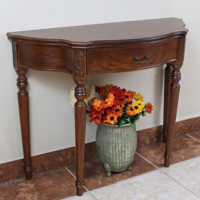 International Caravan Inc 3839 Carved Wood Half Moon Table   Brown