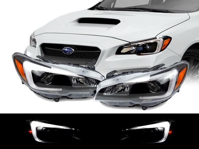 LED Bar Black Housing STI LOOK Projector Headlights Pair for 15 16 ...