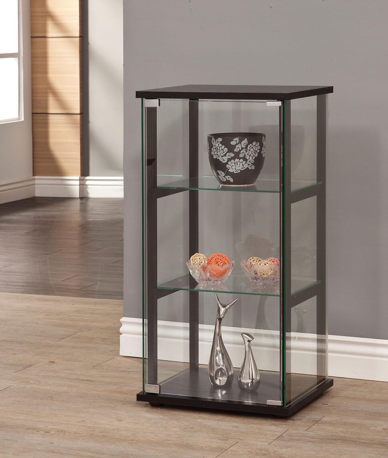 Contemporary 3 Shelf Black Frame Glass Curio Cabinet Display Case Coaster  950179