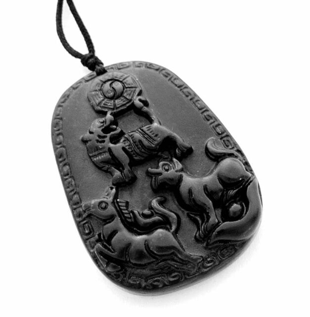 Engravable Chinese Zodiac Dog Tag Necklace: Jade Happy Lucky Chinese Zodiac Tiger Horse Dog Taiji 8