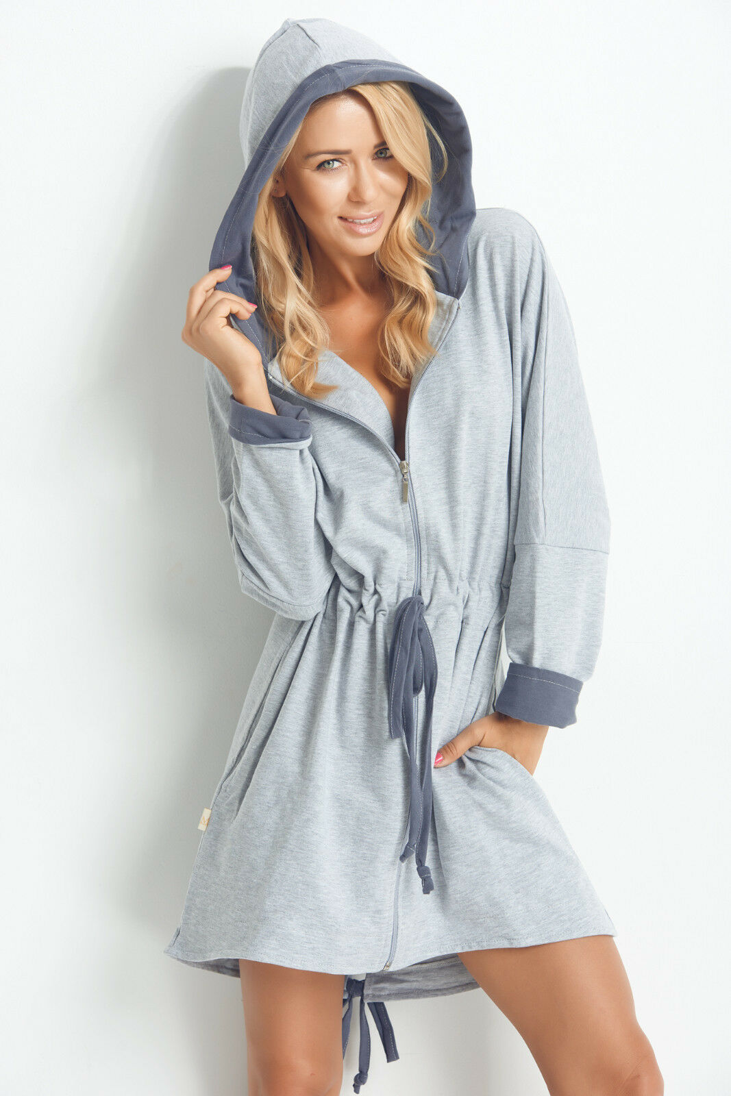 Ladies Soft Short Length Hooded Dressing Gown House Coat With Zip ...