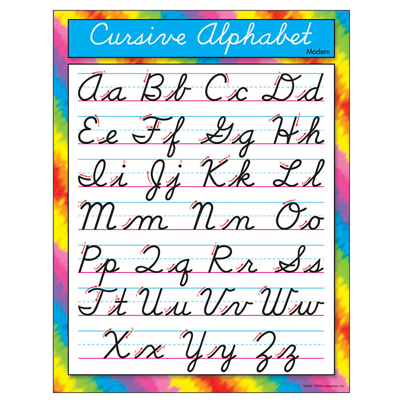 Trend Enterprises Cursive Alphabet Modern Learning Chart 2nd Grade ...